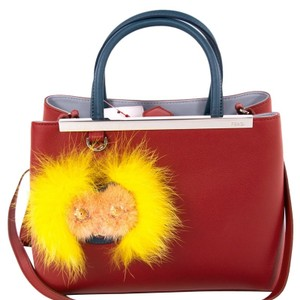 Fendi Calfskin Leather Embellished Pettite Tote in Red 2fcc7919d7403