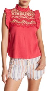 Free People Crochet Cotton Lace Trim Tie Mock Neck Top red