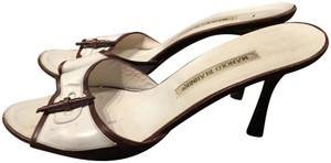 Manolo Blahnik White and Brown Sandals