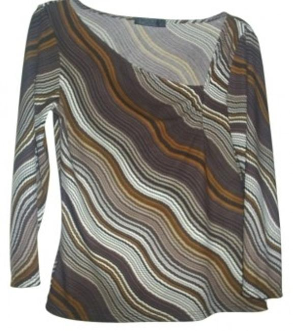 Preload https://item2.tradesy.com/images/bcbgmaxazria-tan-and-brown-on-trend-neckline-blouse-size-6-s-23871-0-0.jpg?width=400&height=650