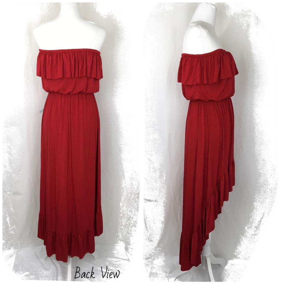 606fddf76af0e FELICITY & COCO Red 'faria' Strapless High-low Ruffle Mid-length ...