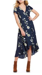 blue combo Maxi Dress by Free People High Low Hem Floral Short Sleeve Button Down V-neck