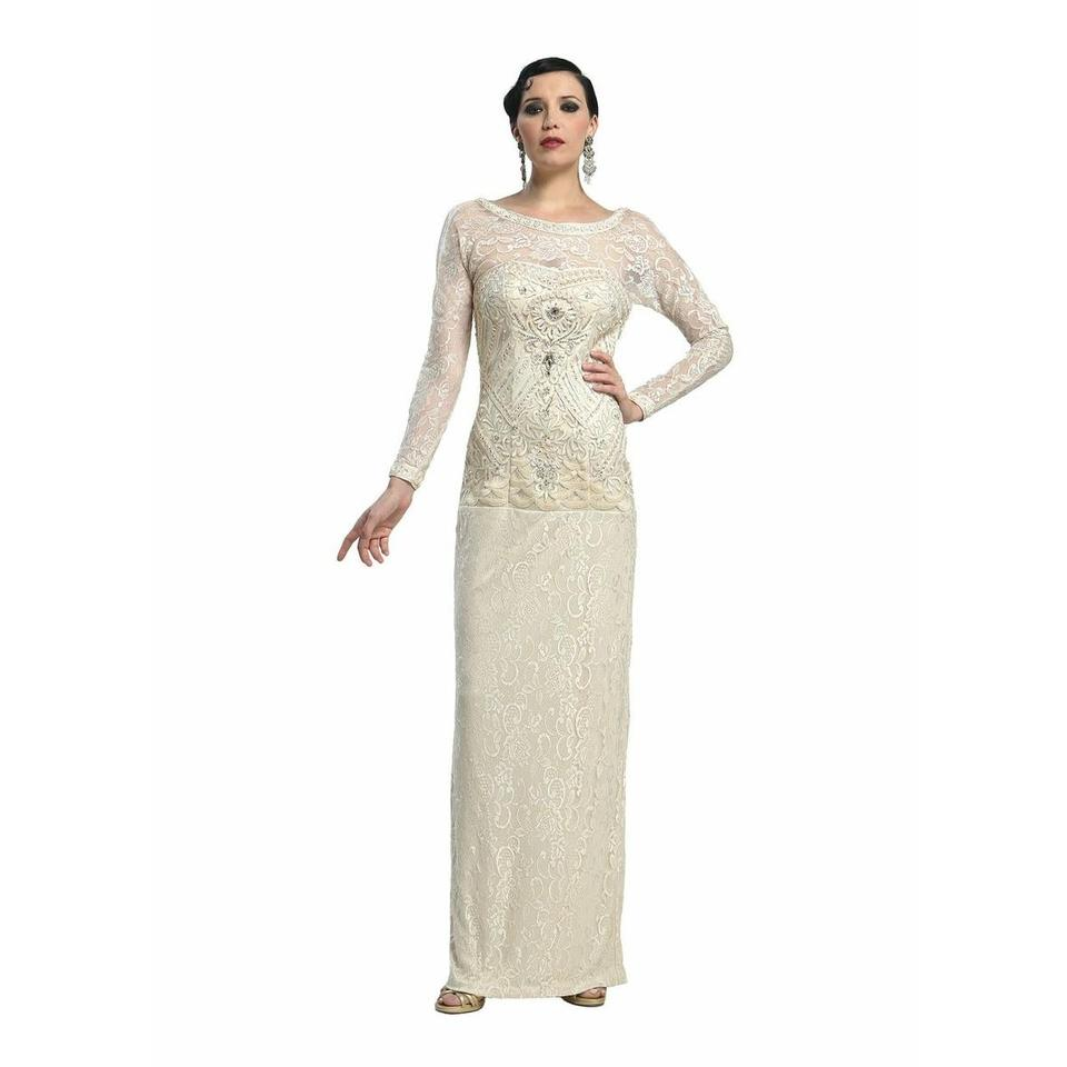 Sue Wong Beige Champagne Wedding Prom V-back Evening Gown W4134 ...