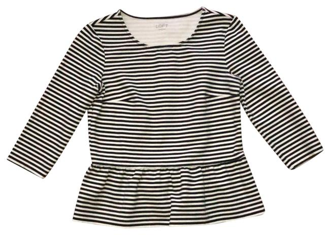 Item - Black and White Striped Peplum Tunic Size 6 (S)