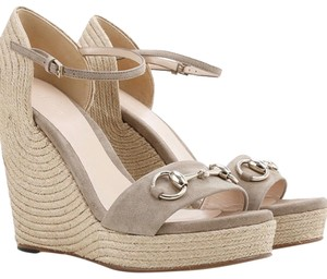 Gucci Suede Leather Horsebit Platform brown-taupe Wedges