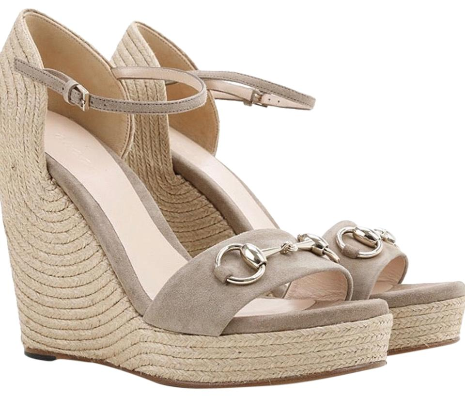 8cd303e60942 Gucci Brown-taupe Horsebit Suede Leather Platform Sandal Wedges Size ...