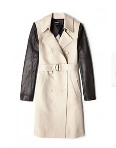 DKNY Leather Longsleeve Trench Coat