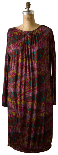 Item - Pink/Teal/Multi Jersey 90's Silk Mid-length Night Out Dress Size 6 (S)