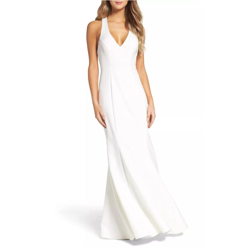 Crepe Wedding Gown: Xscape Ivory Racerback Mermaid Crepe Gown Casual Wedding