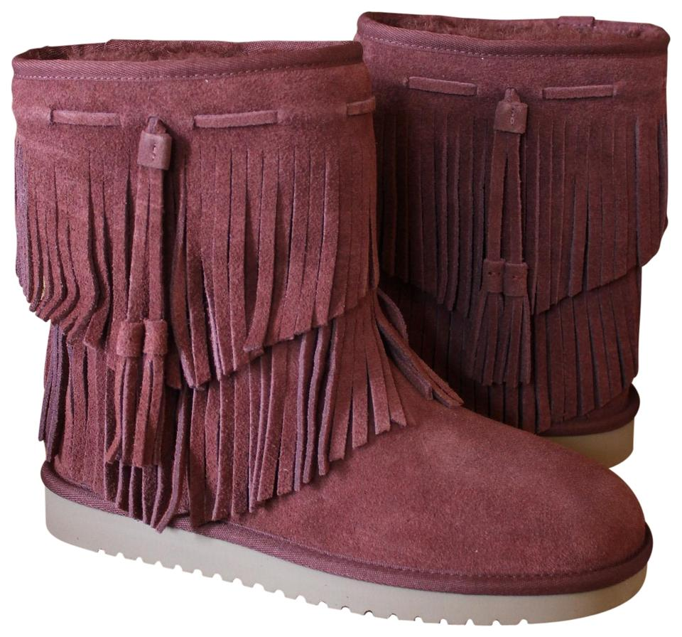 lady Burgundy Cable Fringe and Suede Boots/Booties Stylish and Fringe funny d43993