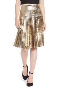 Lewit Silk Pleated Skirt Gold