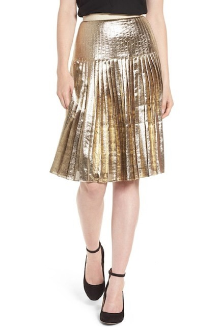 Lewit Silk Pleated Skirt Gold Image 0