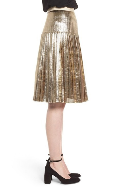Lewit Silk Pleated Skirt Gold Image 2