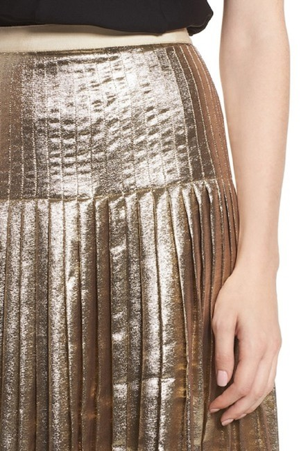 Lewit Silk Pleated Skirt Gold Image 3
