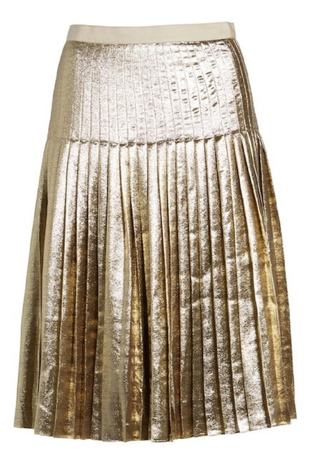 Lewit Silk Pleated Skirt Gold Image 5