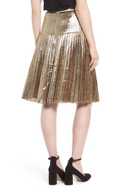 Lewit Silk Pleated Skirt Gold Image 7