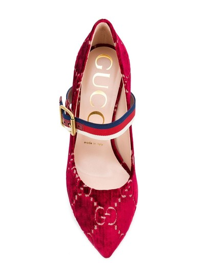 Gucci Gg Velvet Gg Web Sylvie Red Pumps Image 2
