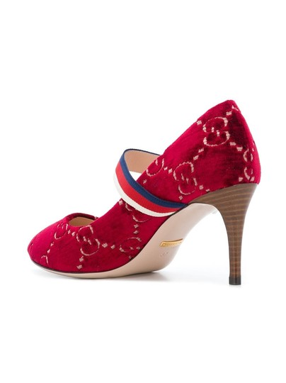 Gucci Gg Velvet Gg Web Sylvie Red Pumps Image 3