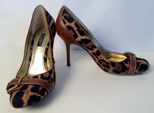 Dolce&Gabbana Canvas Brown/Black Pumps Image 1