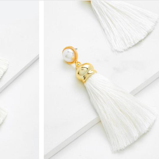 Fashion Jewelry faux pearl top tassel earring Image 1