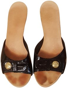 Coach Patent Leather Signature Black Mules