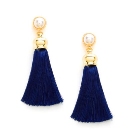 Fashion Jewelry tassel drop earring with faux pearl Image 1