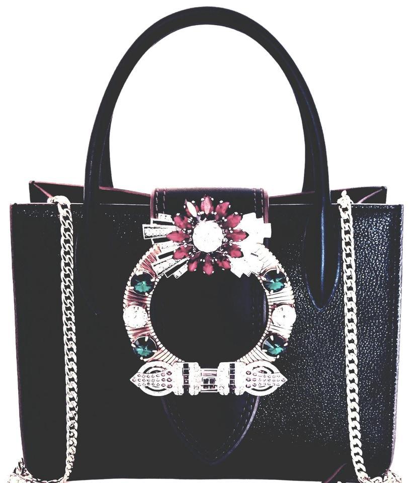 Miu Miu Madras Lady 2018 Jeweled Crystal Embellished Shoulder Black Leather Cross  Body Bag edeba55077fd7
