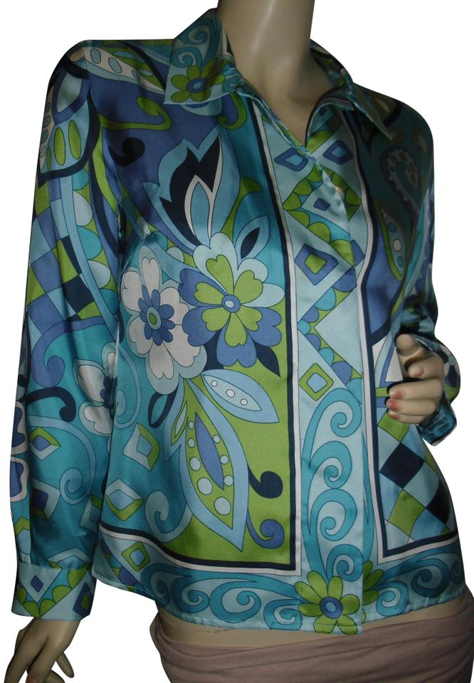 db36945311b4c Petite Sophisticate Blue Green Pucci Style Print Border Design 70s Pure Silk  Button-down Top. Size  6 ...