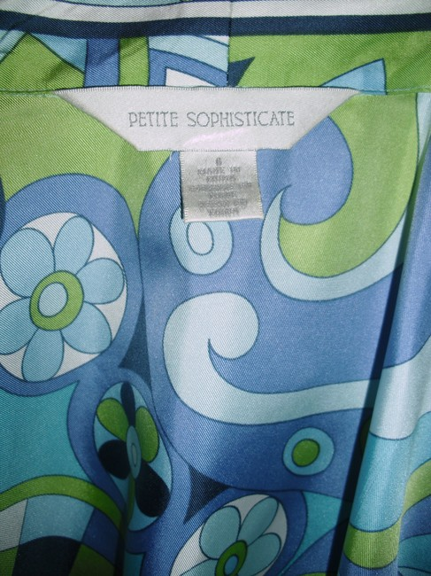 Petite Sophisticate Psychedelic Pucci Style 70s Print Emilio Look A Like Elegant Button Down Shirt blue, green Image 1