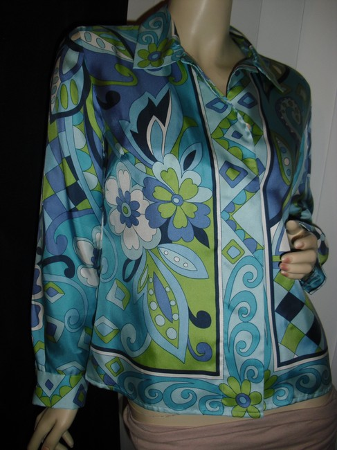 Petite Sophisticate Psychedelic Pucci Style 70s Print Emilio Look A Like Elegant Button Down Shirt blue, green Image 3