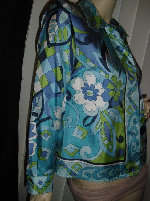 Petite Sophisticate Psychedelic Pucci Style 70s Print Emilio Look A Like Elegant Button Down Shirt blue, green Image 4