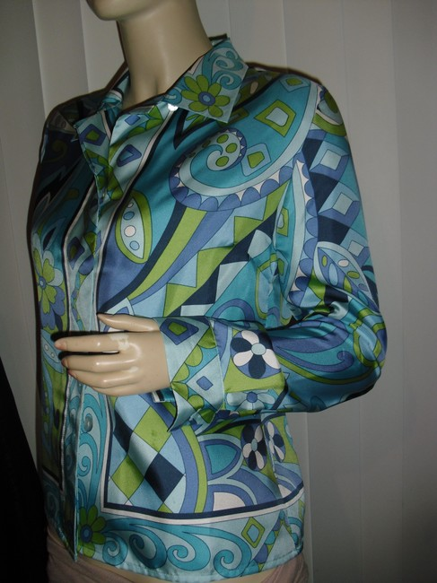 Petite Sophisticate Psychedelic Pucci Style 70s Print Emilio Look A Like Elegant Button Down Shirt blue, green Image 5