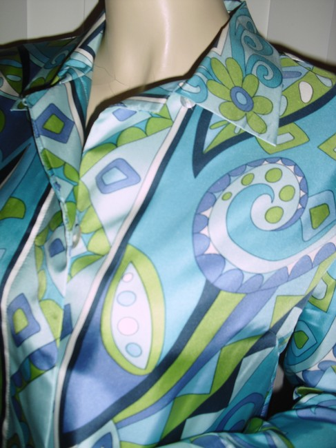 Petite Sophisticate Psychedelic Pucci Style 70s Print Emilio Look A Like Elegant Button Down Shirt blue, green Image 6