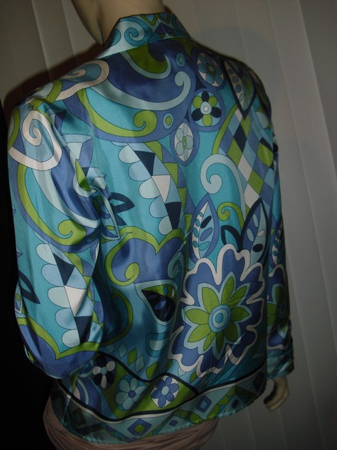Petite Sophisticate Psychedelic Pucci Style 70s Print Emilio Look A Like Elegant Button Down Shirt blue, green Image 7