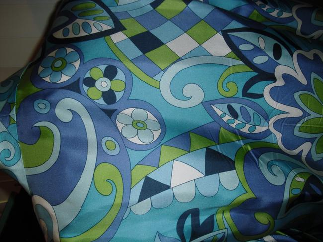 Petite Sophisticate Psychedelic Pucci Style 70s Print Emilio Look A Like Elegant Button Down Shirt blue, green Image 8