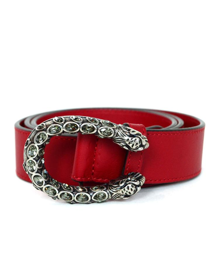 7e42019cc Gucci Gucci Red Leather Belt with Crystal Dionysus Buckle sz 80cm/32 ...