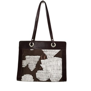 Agnes & Hoss Leather Silk Tote in Dark Brown and White