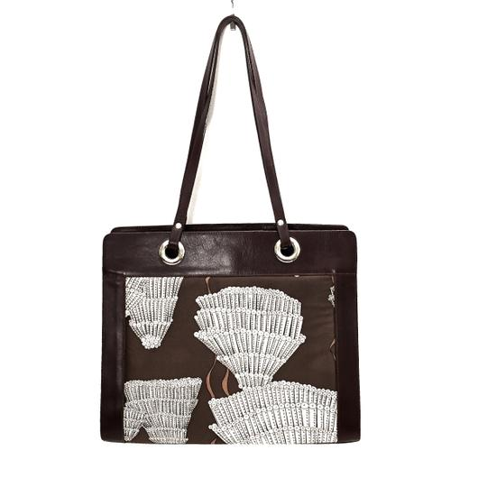 Agnes & Hoss Leather Silk Tote in Dark Brown and White Image 1