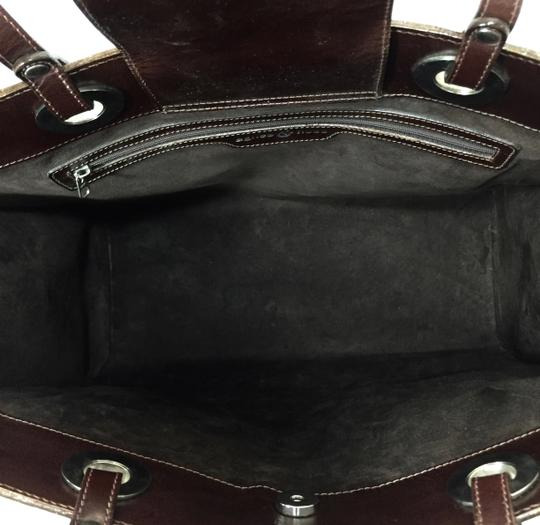 Agnes & Hoss Leather Silk Tote in Dark Brown and White Image 5