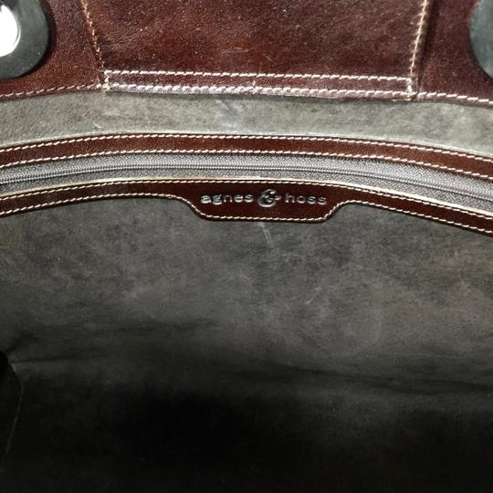 Agnes & Hoss Leather Silk Tote in Dark Brown and White Image 7