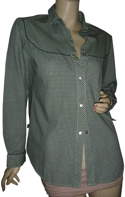 Item - Green Levi's Checkered Cowboy Piping Rodeo Button-down Top Size 12 (L)