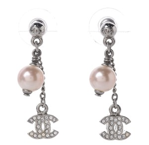 Chanel CHANEL Crystal Pearl Drop Earrings Silver