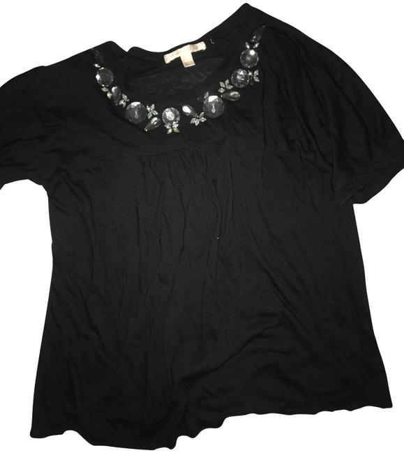 Preload https://img-static.tradesy.com/item/23872085/rebecca-taylor-black-large-rhinestone-embellished-tee-shirt-size-2-xs-0-1-650-650.jpg