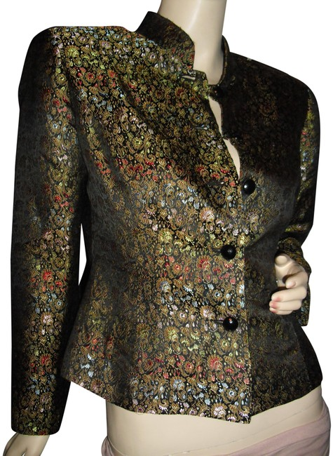 Preload https://img-static.tradesy.com/item/23872089/black-red-gold-turquoise-brocade-jacket-fitted-pattern-blazer-size-6-s-0-1-650-650.jpg