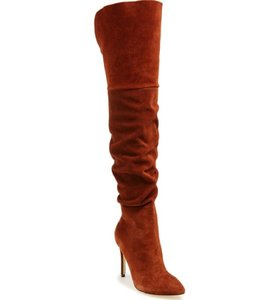 Kristin Cavallari Suede Leather Over The Knee Brown Boots