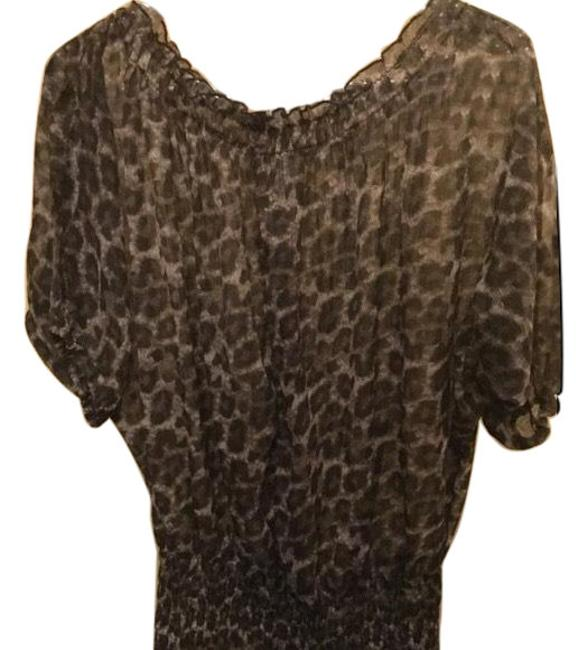 Item - Brown and Cream Cute Gathered In Animal Print Blouse Size 10 (M)