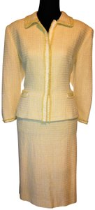 Tahari Yellow and White Tweed Tailored Lined Suit