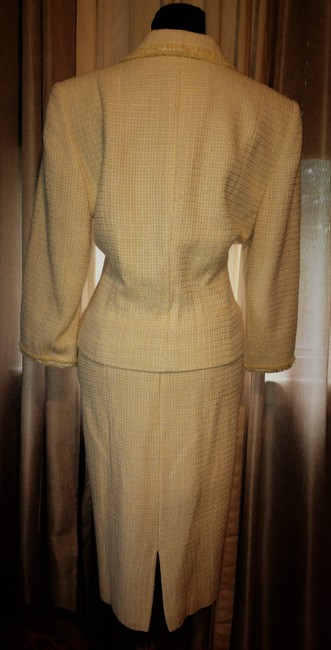 Tahari Yellow and White Tweed Tailored Lined Suit Image 1