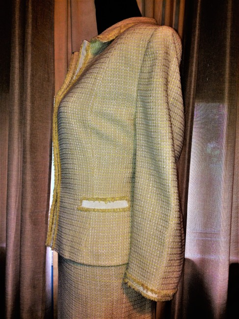 Tahari Yellow and White Tweed Tailored Lined Suit Image 3