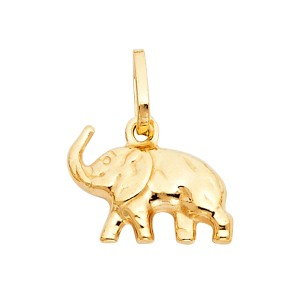 TD Collections 14K Yellow Gold Elephant Pendant